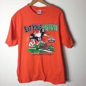 Hanes Orange Auburn Graphic Tee Fans Large Shirt